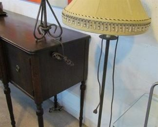 Floor lamp and table lamp set.