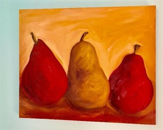 3 pear painting by Diane Whitehead