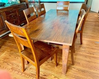 Crate & Barrel solid wood table and 6 chairs