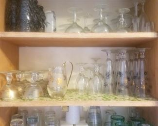 Misc. glasses, beer stein's and wine glasses from the 60's