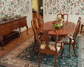 formal dining room set by Hickory. Table with 3 leaves and 6 chairs, sideboard