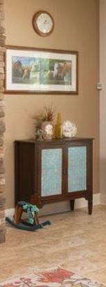"Small Side Table with this Country Charm's Signature Turquoise Color.  Accent miniature Rocking House on floor makes this ""look"" work for any room."
