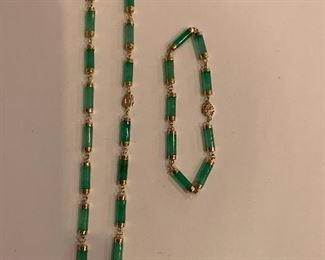 14k gold & jade necklace and bracelet