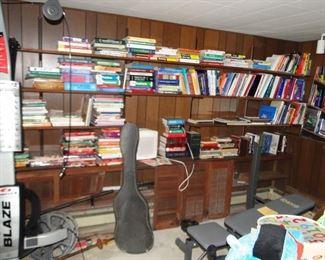Books galore and Yamaha guirar