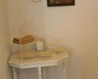 White antique painted entry table