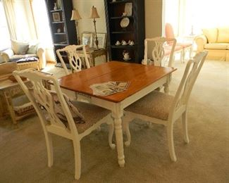 $125 Wonderful farm table $125 and 4 vintage Chippendale style chairs at $125 for the four chairs
