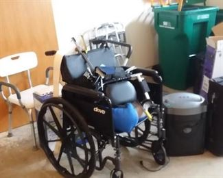 wheel chair, walkers, shower assist chair, bed rails