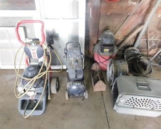 Simpson 3100 psi power washer, compressor, shop vac