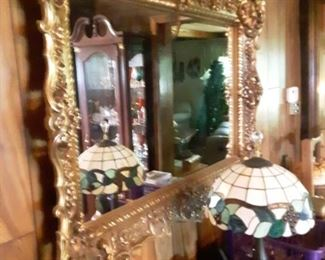 Gold Framed Mirror, and Tiffany Style Lamp