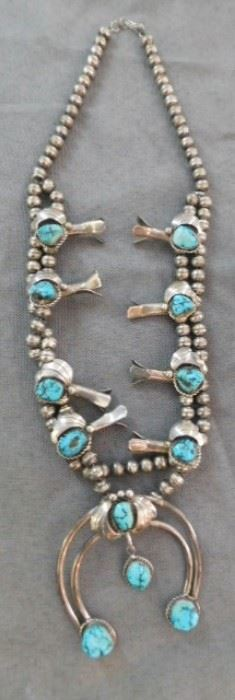 Navajo Sterling and Turquoise Squash blossom Necklace