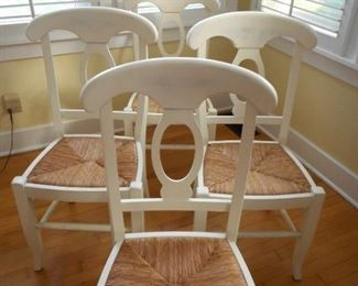 "4 - Pottery Barn Dusk White ""Napoleon"" Dining Chairs"