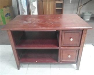 Cherry Colored Two Drawer Two Shelf Cabinet