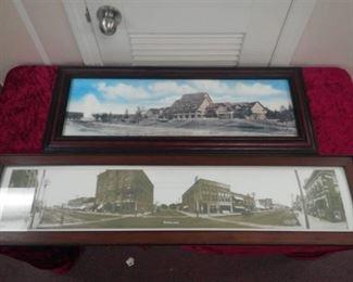 Framed Vintage Picture of Kearney, NE and Framed Vintage Picture of Old Faithful Inn at Yellowstone