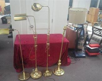 Lot of 4 Brass Color Floor Lamps