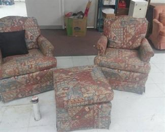 Lot of 2 Arm Chairs and Matching Ottoman