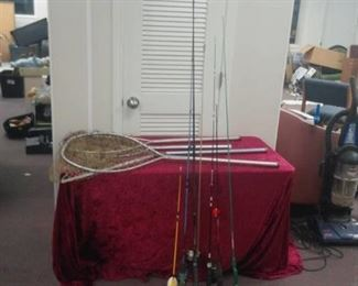 Lot of 6 Fishing Poles and 4 Fishing Nets