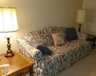 Sofa and endtables, matching brass lamps