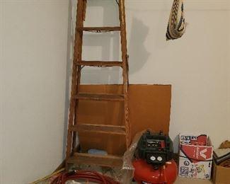 Ladder, air compresser