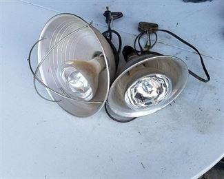 2 Clip On Shop Lights with heat bulbs
