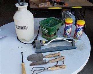 Sprayer, Scott's Spreader, sprinkler, garden tools, Sevin Dust