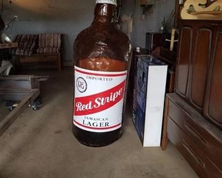 Inflatable Red Stripe Beer Bottle Decor 5ft tall