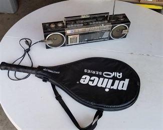 tennis racket and radio