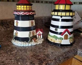 2 Lighthouse cookie jars