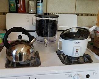 rice cooker, tea kettle, drink dispenser