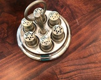 Antique Miniature  3 sets of Individual Salt &Pepper Shakers with Matching Caddy. Unique and ready for anyone's cupboard. Very Nice.