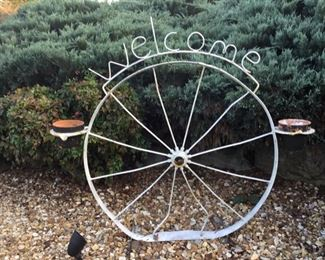 Welcome Entrance Wheel Sign.  All you need is a couple of plants and a visit. Everyone is Welcome to this sale.