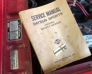 This 1969 Datsun Roadster comes with its very own Factory Service Manual.  Comes with the Datsun.