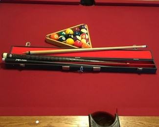 """Get ready to shoot with this vintage 3-section Brunswick 20"""" Cue Stick - very nice and comes in original travel case. Matches this Olhausen Pool Table perfectly."""