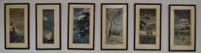 Vintage Japanese Woodblock Paintings, 6 panel.  Stunning presentation, six total woodblock paintings all framed in black lacquer frames. Measures: H.- 18 3/4 in., W.- 10 3/4 in. Believed to be post war period and attributed to Hasui or Koitsu.