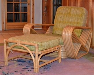 Vintage Paul Frankl Style Pretzel Chair and Ottoman