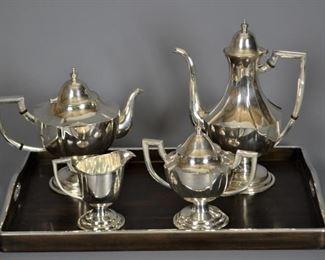 Art Deco .950 Sterling Silver 5-Piece Serving Set, 2614g