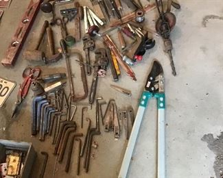 Some of the tools taken out of the primitive tool cabinet.