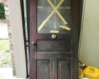 Antique Door with key and an inserted working doorbell. This door originated from the Allison Estate in Honor, MI.
