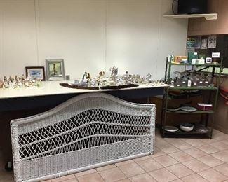 Wicker Queen Headboard, Silver Plate, Beatrix Potter, milk bottles
