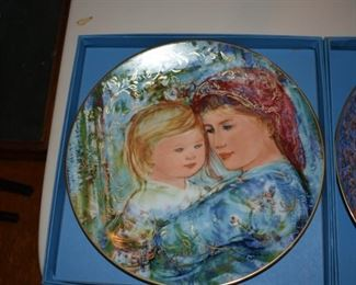 Many Hibel Mother's Day plates with boxes and certificates of authenticity