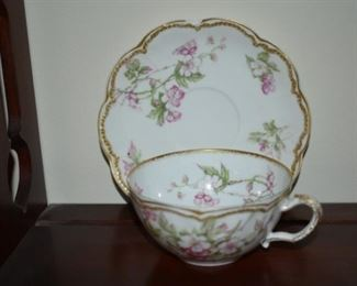 Antique cups and saucers, some Limoges