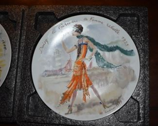 Fashion through the ages plates by Ganeau via Limoges France - Set of 12 MIB with Certificates of Authenticity
