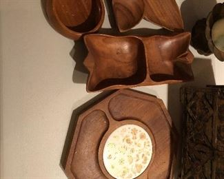 Mid century wooden serving pieces