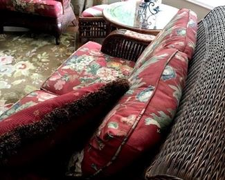 In The living Room Is This Fab Rattan Love Seat...and Chair...and Wait Until You See The Coffee Table, It Sits Four!....