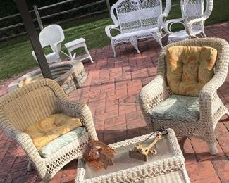 Also Just Added...A True Wicker Settee, Table, and Chair!...