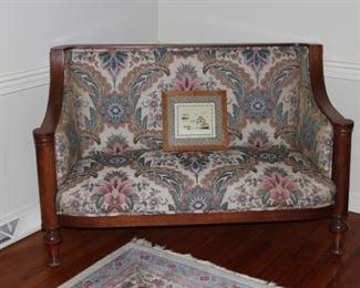 Walnut Upholstered Settee