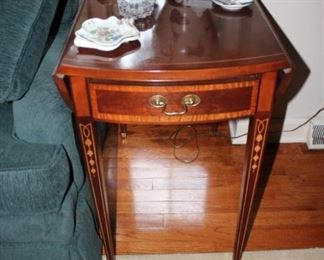 Pair of Drop Leaf Inlaid End Tables by Hickory