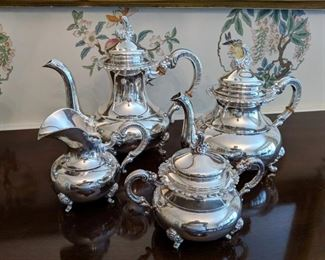 4 Pc. Set Alt Heidelberg Sterling Tea Set w/ Alt Heidelberg Alpaca Silverplate Tray