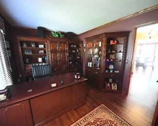Executive desk and bookcases