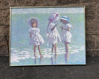 MM Beach Scene Painting Signed Illegibly