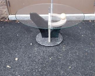 Memphis Style Circular Glass CT Faux Marble Base